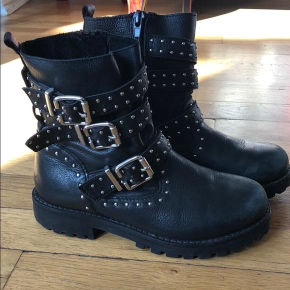 Zara Girls Real Leather Biker Boots